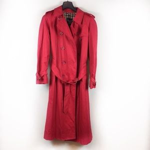 Vintage Red Burberry London Trench Coat